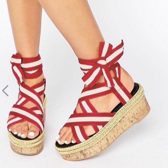 244bc3eb9163 ASOS thrilling tie leg platform sandals